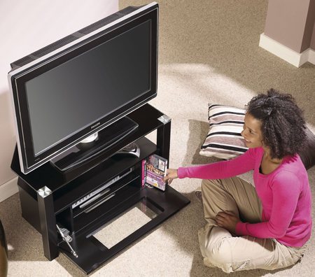 Alphason ABRD800-BLK, Ambri Series D Shaped Enclosed Cabinet for Flat Screen TVs upto 37 inch
