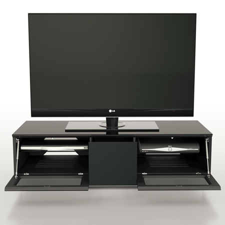 Alphason EMT1250CB-BLK, Element Series TV Stand with Media Storage Suitable for Flat Screen TVs up to 60