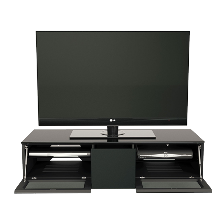 Alphason EMT1250CB-BLK, Element Series TV Stand with Media Storage Suitable for Flat Screen TVs up to 60 inch