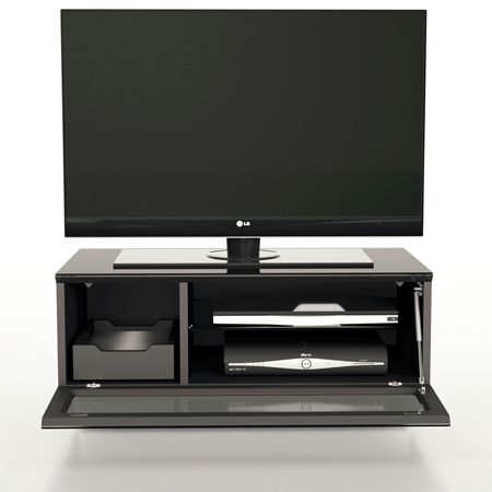 Alphason EMT850CB-BLK, Element Series TV Stand with Media Storage Suitable for Flat Screen TVs up to 37