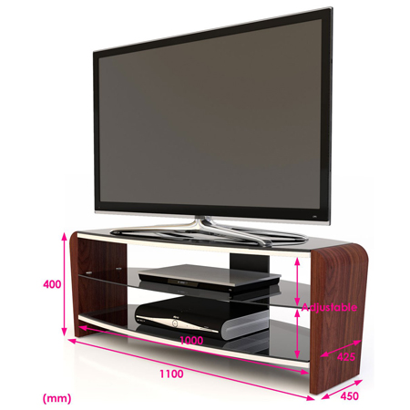 Alphason FRN11003-W, Francium Series TV Stand with Stylish Walnut Side Supports & Adjustable Glass Shelf
