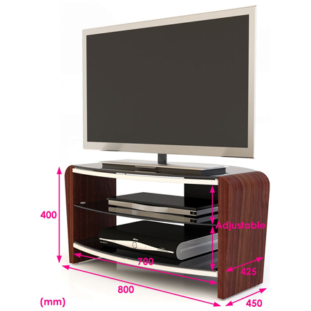 Alphason FRN8003-W, Francium Series TV Stand with Stylish Walnut Side Supports & Adjustable Glass Shelf