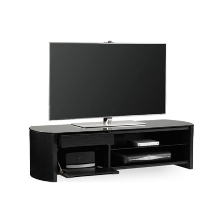 Alphason FW1350CBBLK, Real Wood Veneer with Piano Black Glass / Black Oak TV Stand for TVs up to 60