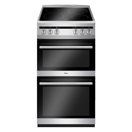 Amica AFC5100SI, 50cm freestanding electric cooker with twin cavity with ceramic 4 zone hob