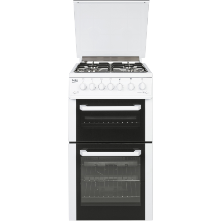 BEKO BCDG504W, Gas with LPG Option Cooker with Twin Cavity Oven and 4 Burner Hob