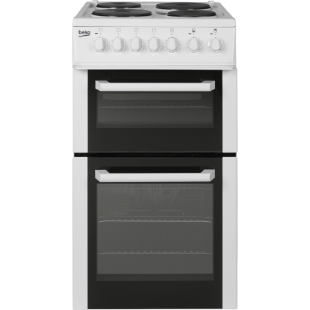 BEKO BCDP503W, Electric Cooker White with Double Oven and 4 Zone Solid plate Hob