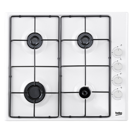 BEKO CIHG21SW, 9.5x58x51 4 Burner Gas Hob with Enamel Pan Supports