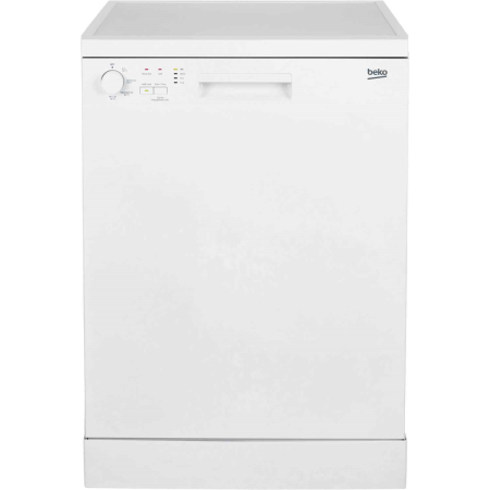 BEKO DFN04C10W, Freestanding Dishwasher with 12 place settings in white.