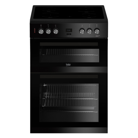 BEKO EDC633K, 60cm Electric Cooker Black with Double Oven 4 Zone Ceramic Hob