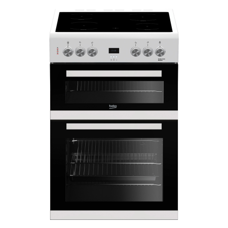 BEKO EDC633W, 60cm Electric Cooker White with Double Oven 4 Zone Ceramic Hob