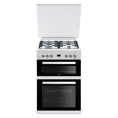 BEKO EDG6L33W, 60cm Gas with LPG Option Cooker White with Double Oven 4 Burner Hob