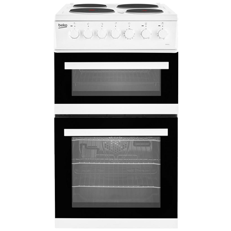 BEKO EDP503W, 50cm Electric Cooker White with Double Oven and 4 Zone Solid Plate Hob