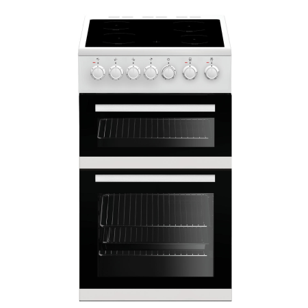 BEKO EDVC503W, 50cm Electric Cooker White with Double Oven and 4 Zone Ceramic Hob