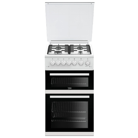 BEKO EDVG505W, 50cm Gas Cooker White with Double Oven , 4 Burner Hob and Enamel Pan Supports