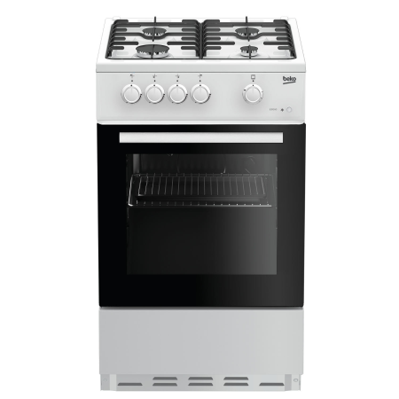 BEKO ESG50W, 50cm Gas Cooker White with Double Oven , 4 Burner Hob and Enamel Pan Supports