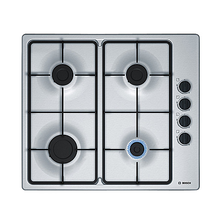 BOSCH PBP6B5B60, 60cm 4 Burner Gas Hob with Cast Iron Pan Supports