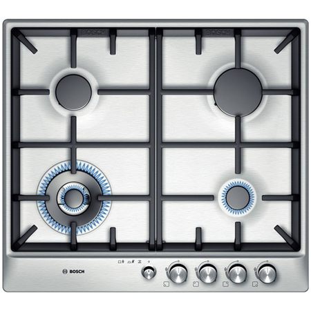 BOSCH PCH615M90E, Exxcel Series Brushed Steel Gas Hob with Wok Style Burner