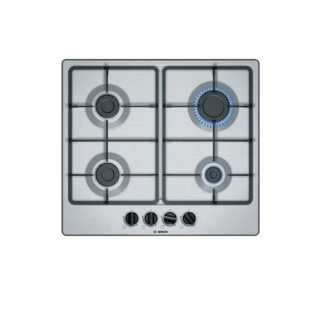 BOSCH PGP6B5B60, 4.5x58.2x52.0 4 Burner Gas Hob with Cast Iron Pan Supports and Dial Controls