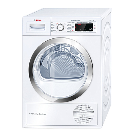 BOSCH WTW87560GB, Freestanding 9Kg Heat Pump Condenser Dryer with A++ Energy Rating - White