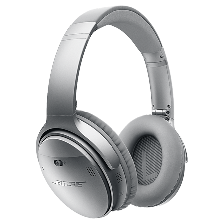 BOSE QuietComfort 35 Silver, Acoustic Noise Cancelling Wireless Bluetooth headphones - Silver