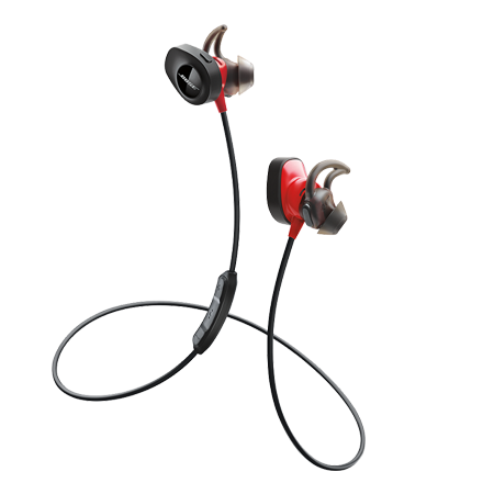 BOSE SoundSport Pulse, Wireless Headphones with Sport Inspired StayHear tips in Black & Red