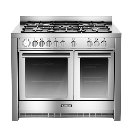 Baumatic BCD1025SS, 100 cm Gas with LPG Option Range Cooker with Twin Cavity Oven and 4 Burner + 1 Wok Hob