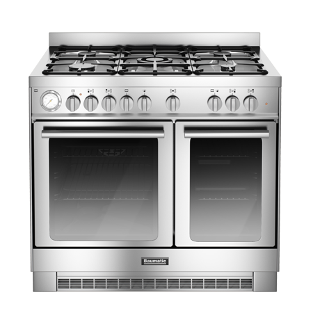 Baumatic BCD925SS, 90 cm Gas with LPG Option Range Cooker with Twin Cavity Oven and 4 Burner + 1 Wok Hob