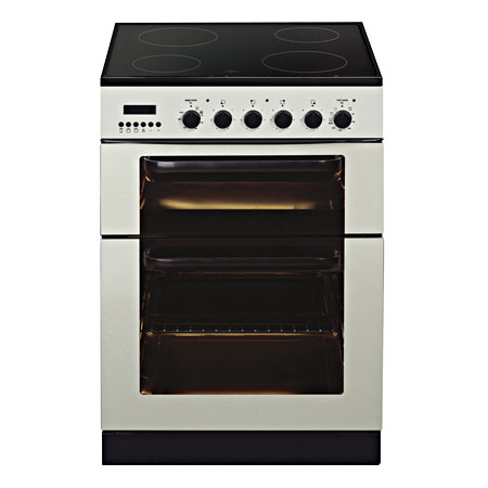 Baumatic BCE625IV, 60 cm Electric Cooker Ivory with Multifunction Twin Cavity Oven, 4 Zone Hob and Programmer