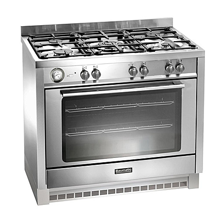 Baumatic BCG905SS, 90 cm Gas with LPG Option Range Cooker with Single Oven and 4 Burner + 1 Wok Hob