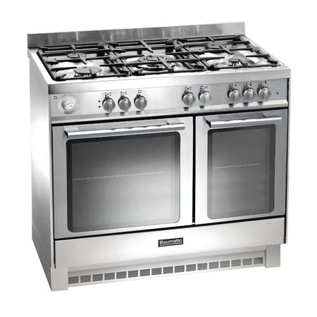 Baumatic BCG925SS, 90 cm Gas with LPG Option Range Cooker with Twin Cavity Oven and 4 Burner + 1 Wok Hob