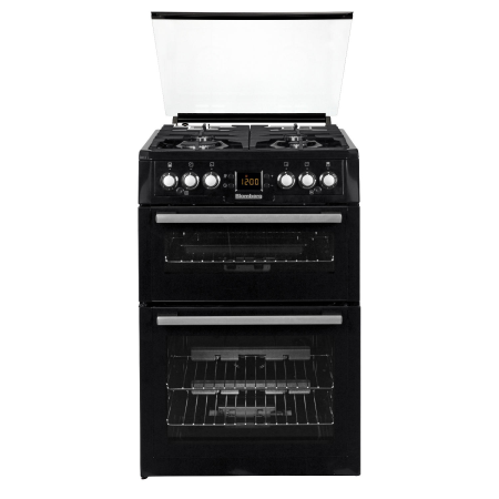Blomberg GGN61Z, 60cm Gas Cooker Black with Double Oven , 4 Burner Lidded Hob and Cast Iron Pan Supports
