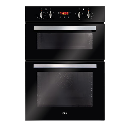 CDA DC940BL, Multifunction Built-In Electric Double Oven Black Glass