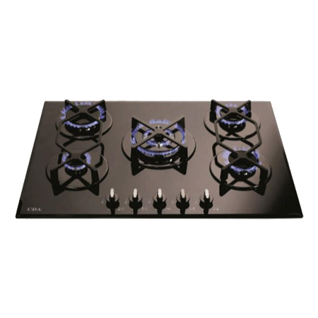 CDA HVG720BL, 70CM 5 Burner Gas Hob with Cast Iron Pan Supports