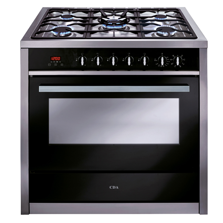 CDA RV911SS, Dual Fuel Range Cooker Black Glass with Single Oven - A Energy Rating