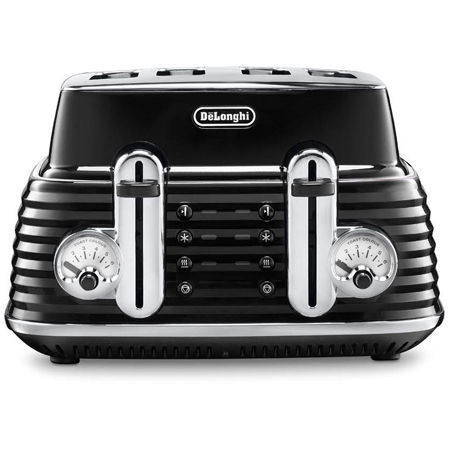 Delonghi CTZ4003BK, 4 Slice Scultura Toaster in Black. Ex-Display Model
