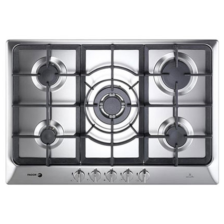 Fagor 5FI5GLSTX, 750mm Gas Hob with Wok Burner and 5 Zones in Stainless Steel.Ex-Display