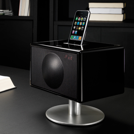 GENEVA S Black, Unique Micro Size Integrated Stereo System with iPod Dock.