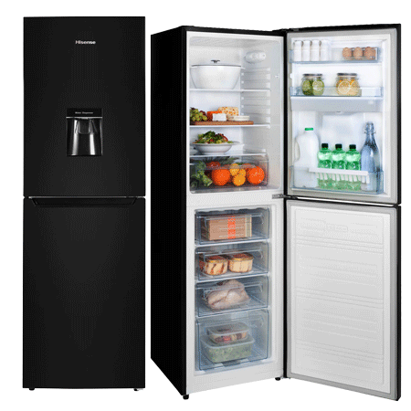 Hisense RB292F4WB1, 55cm Frost Free Fridge Freezer Black