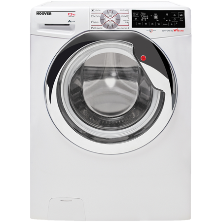 Hoover DWTL413AIW3, Freestanding 13kg 1400rpm Wizard Smart Washing Machine WhiteChrome with Touch Controls, A+++ Energy Rating.