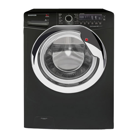 Hoover DXC58BC3, Dynamic Next Classic Washing Machine, 8kg load, 1500 spin, black with chrome door, A+++AA, digital display, 14 minute quick wash Ex-Display Model