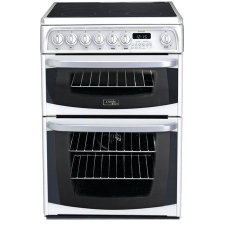 Hotpoint CH60EKWS, 60cm Cooker with Double Oven and Ceramic Hob
