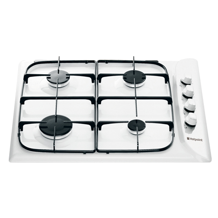 Hotpoint G640SW, Gas Hob with 4 Zones and Enamel Pan Supports in White.