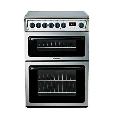 Hotpoint HAE60XS, 60cm Electric Cooker with Double Oven and Ceramic Hob