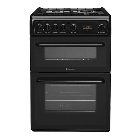 Hotpoint HAG60K, Gas Cooker with Double Oven and 4 Burner Hob