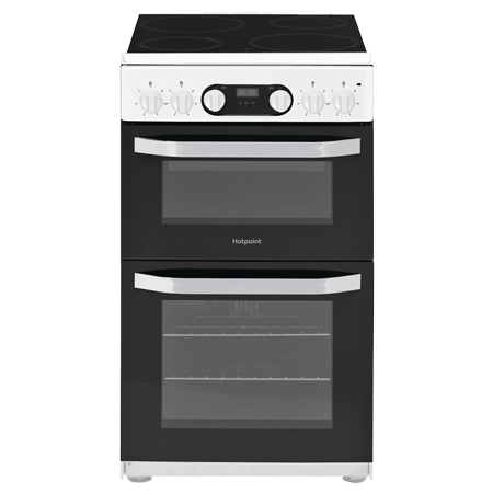 Hotpoint HD5V93CCW, 50cm Double Oven Electric Cooker with Ceramic Hob - White - A Rated.