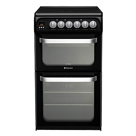 Hotpoint HUE52KS, Electric Cooker with Double Oven and 2 Zone Ceramic Hob - A Energy Rating - Black