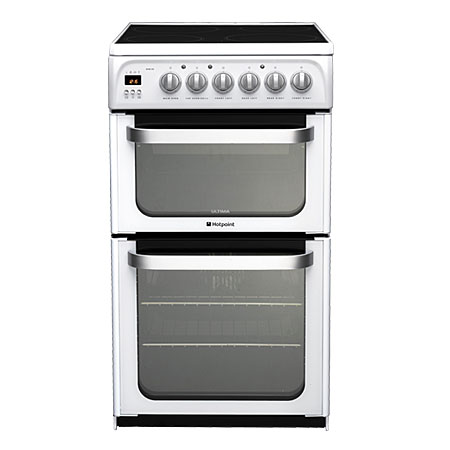 Hotpoint HUE53PS, Electric Cooker with Double Oven, Ceramic Hob and Programmer