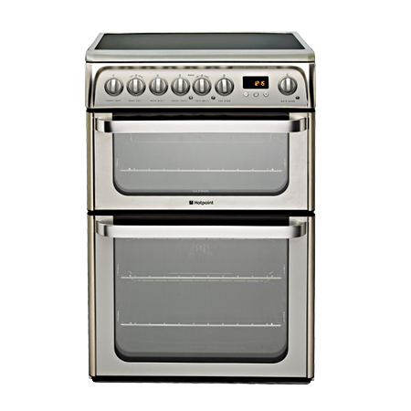 Hotpoint HUE61XS, Freestanding Electric Cooker with Double Oven, Ceramic Hob and Programmer