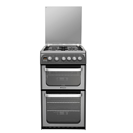 Hotpoint HUG52G, Gas with LPG Option Cooker with Double Oven and 4 Burner Lidded Hob