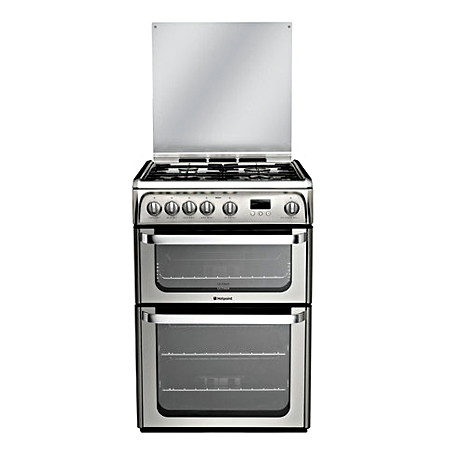 Hotpoint HUG61X, 60cm Gas Cooker with Double Oven, LPG & and Programmer